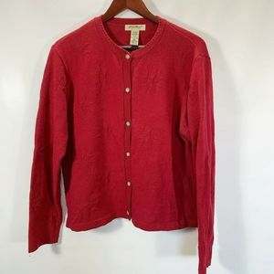 Eddie Bauer Cardigan Button Front Snowflake Red